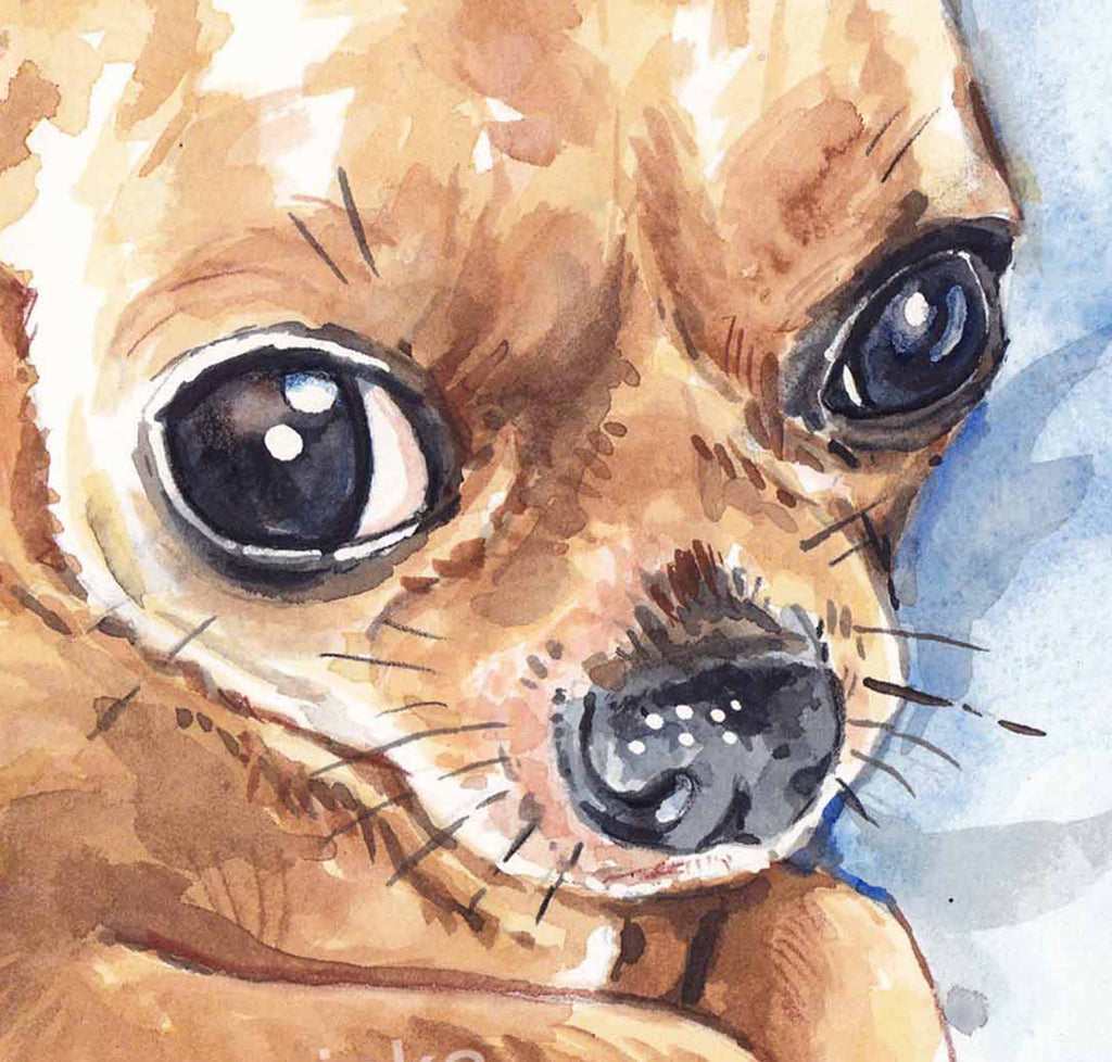 Close up of a watercolor painting of a big eyed Chihuahua