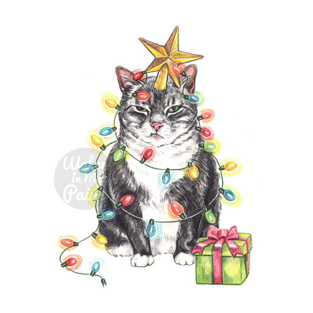 Professional crayon drawing of a grumpy grey tabby cat wrapped in a string of Christmas lights