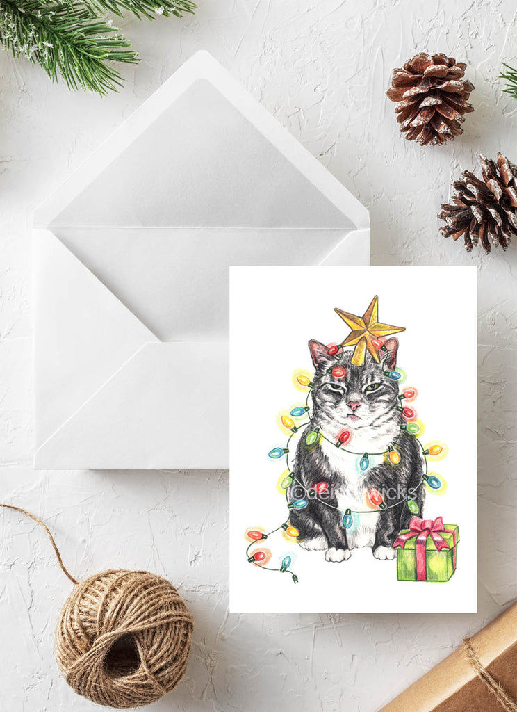 Grumpy cat Christmas card by Deidre Wicks