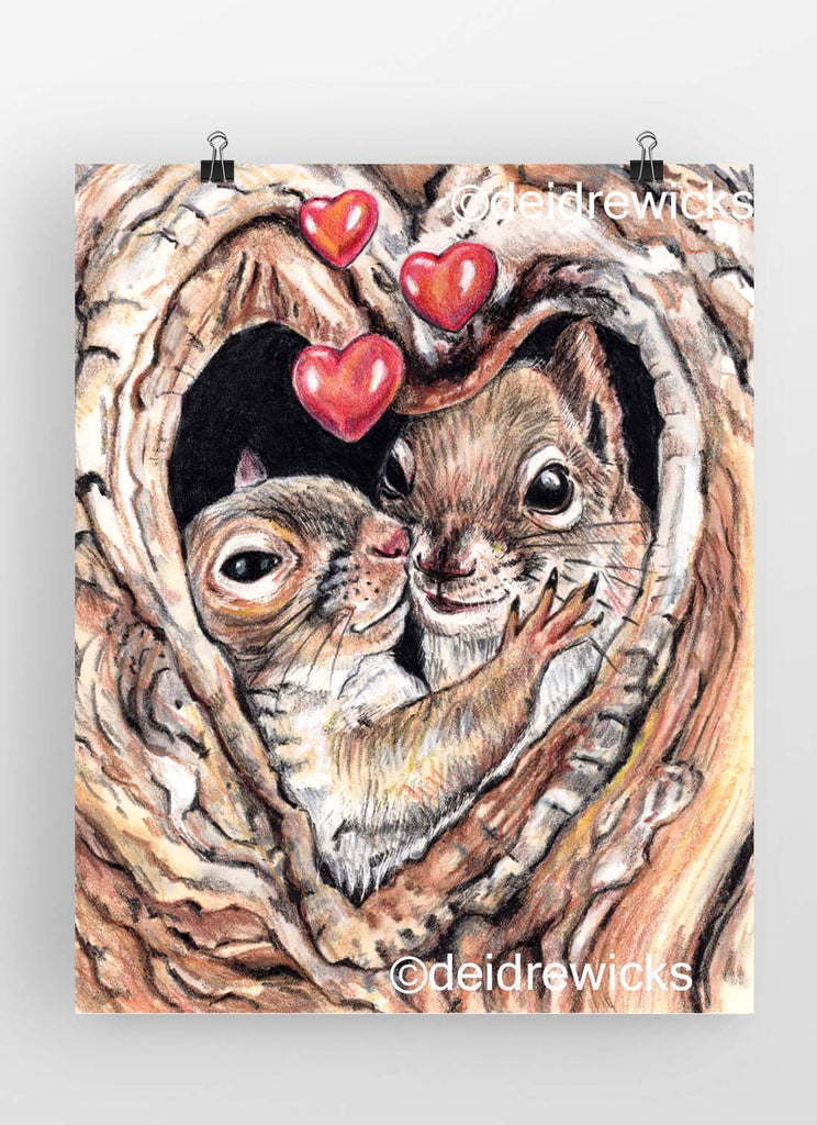 Crayon drawing of 2 Squirrels in their tree home painting by Deidre Wicks