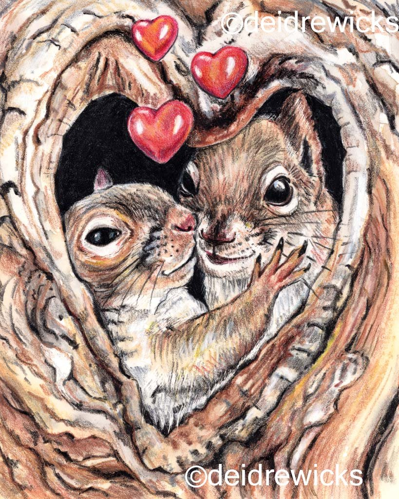 Crayon squirrels in love art by Deidre Wicks