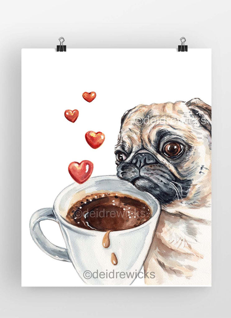 Watercolour painting of a pug dog resting it's head on a coffee cup