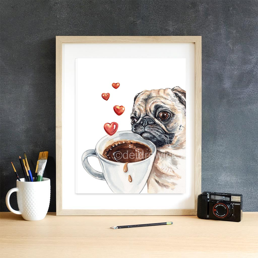 Coffee pug dog watercolour painting by Water In My Paint