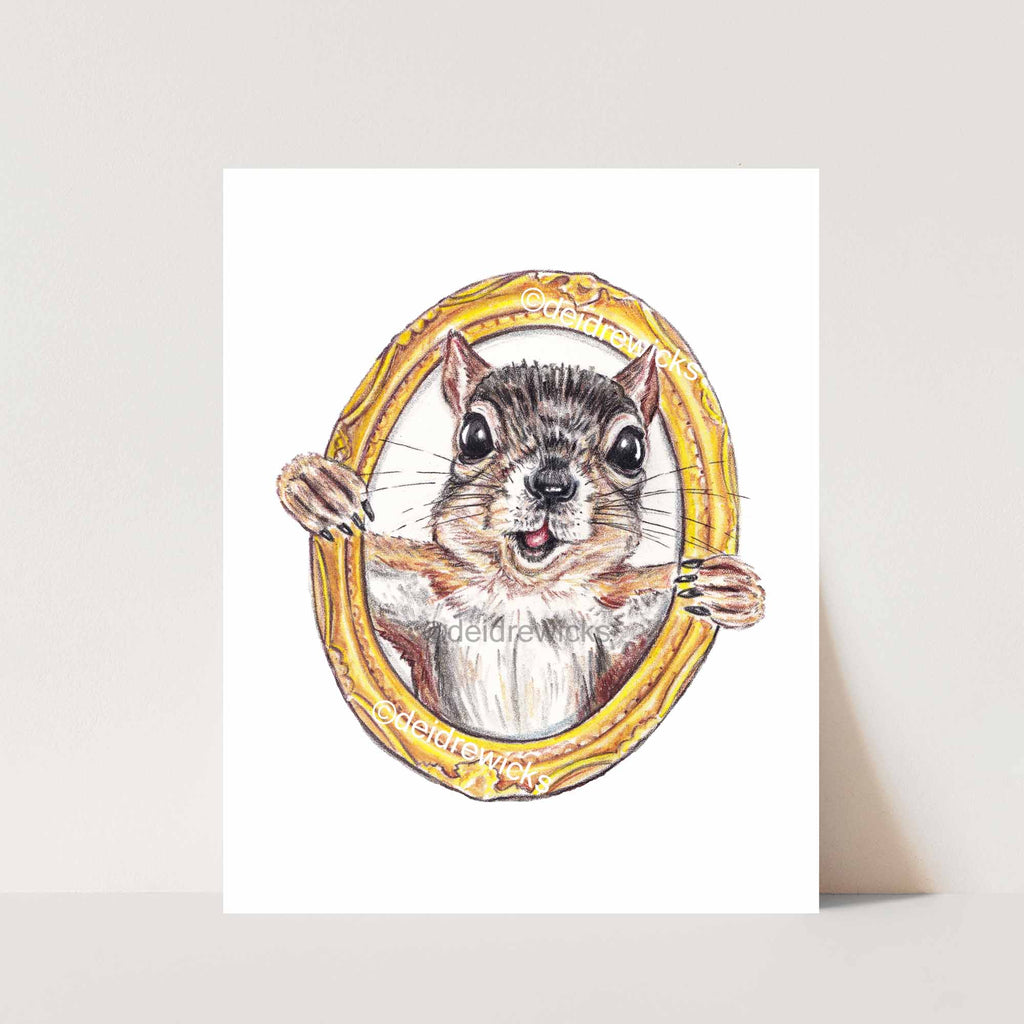 Crayon print of a happy squirrel inside a gold picture frame by artist Deidre Wicks