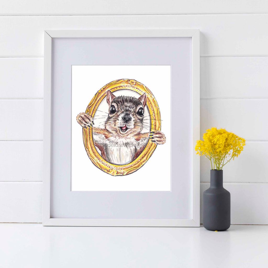 Framed example of a squirrel print for nursery, kids room etc
