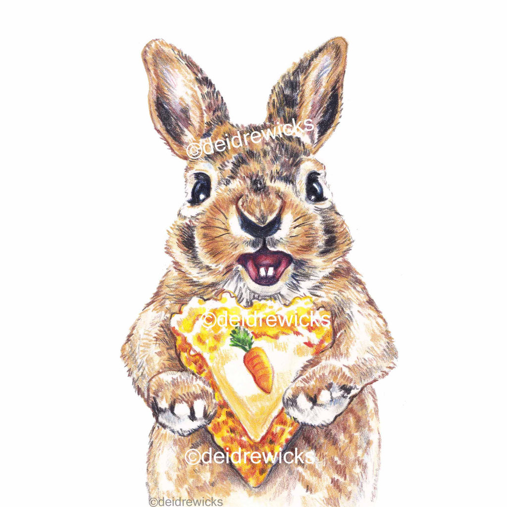 Coloured pencil drawing of a bunny rabbit holding a slice of carrot cake