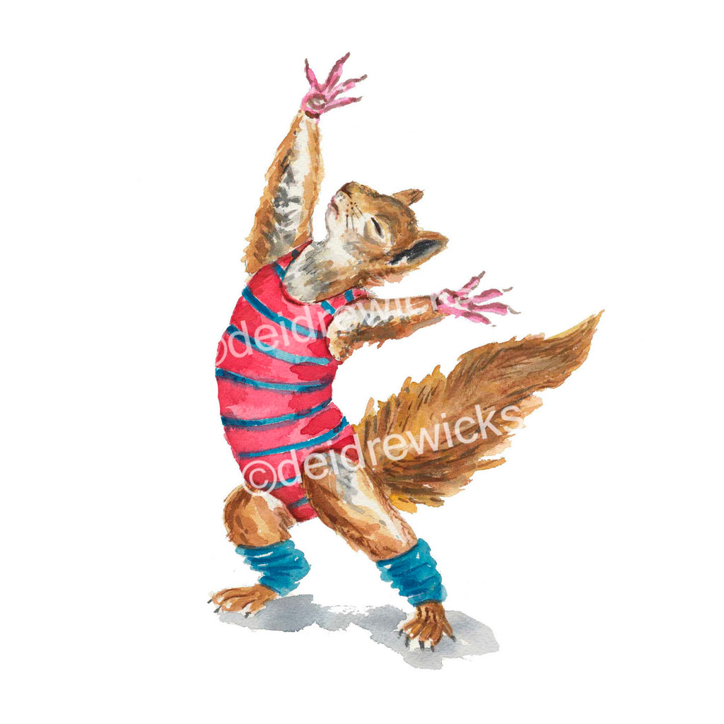 Watercolour print of a squirrel in 80s exercise cloths dancing