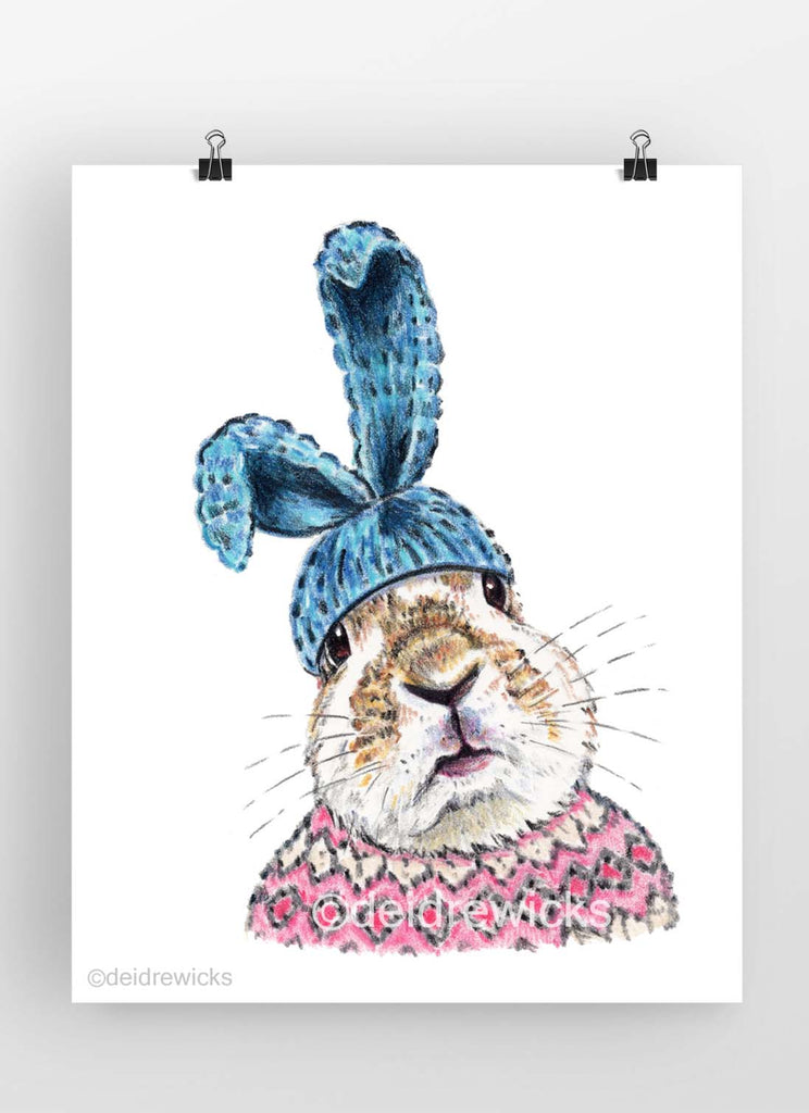 Crayon drawing of a rabbit wearing a knit hat with bunny ears