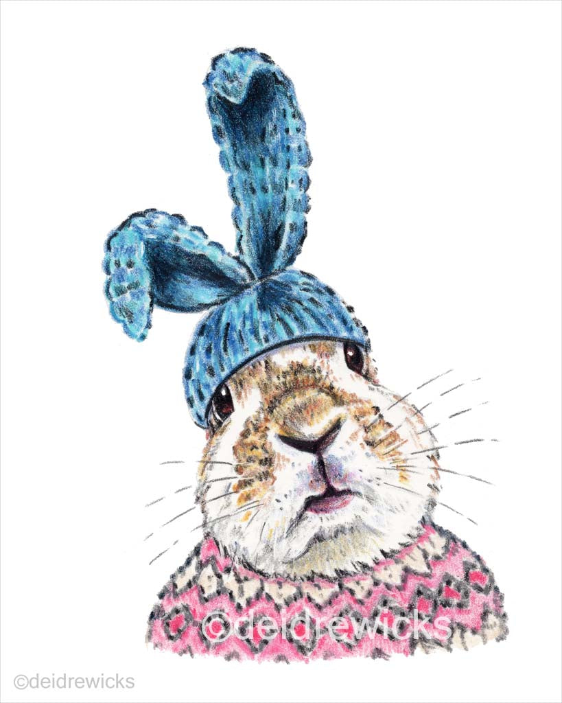 Crayon bunny art print of a rabbit wearing a knitted sweater and a hat with large bunny ears