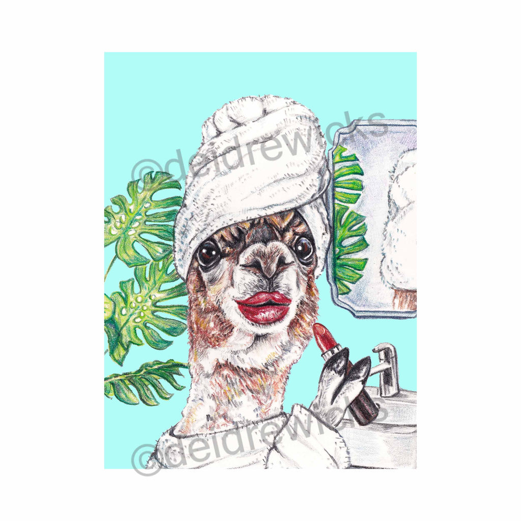 Original crayon painting of a llama in the bathroom putting on her lipstick