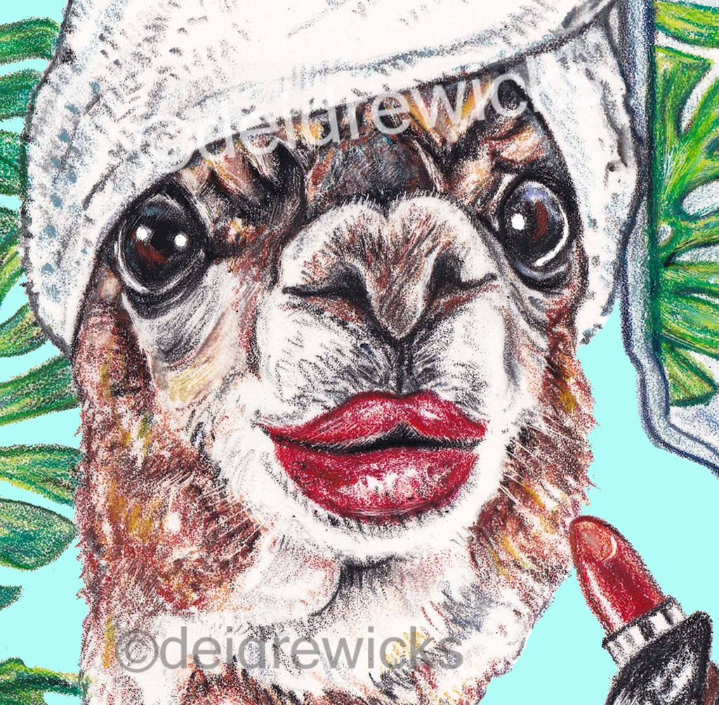 Close up of a llama in her bathroom putting on her lipstick. Crayon art by Deidre Wicks