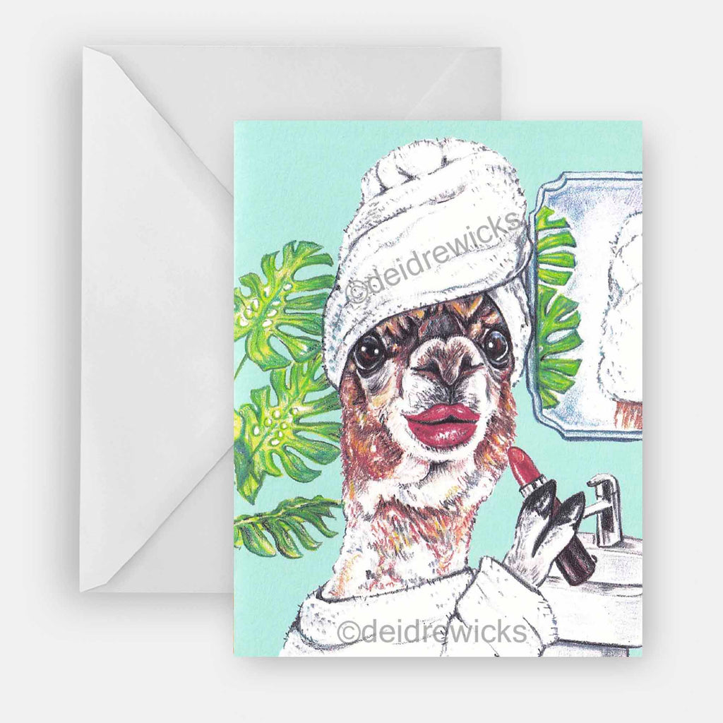Blank greeting card featuring a llama getting ready in her bathroom. Perfect for all occasions including birthday, thank you, congrats etc