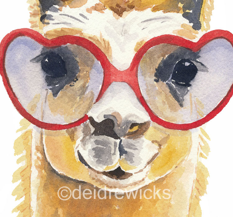 Close up of a llama watercolour print by Water In My Paint