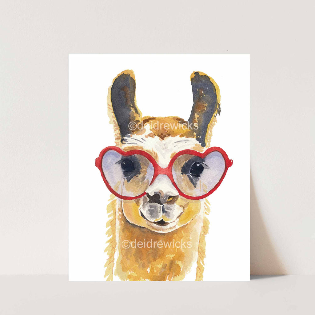 Painting of a llama wearing heart glasses by Deidre Wicks