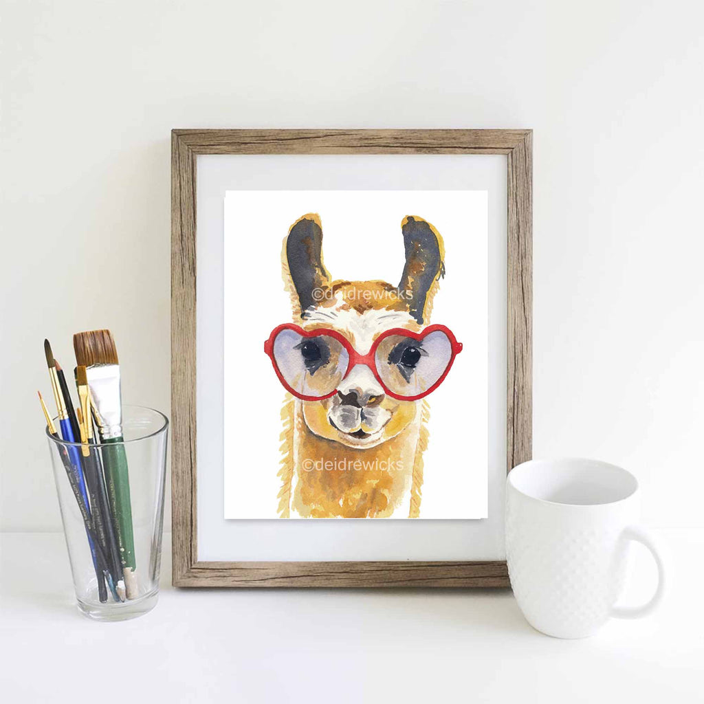 Suggested framing of a llama fine art print by Deidre Wicks