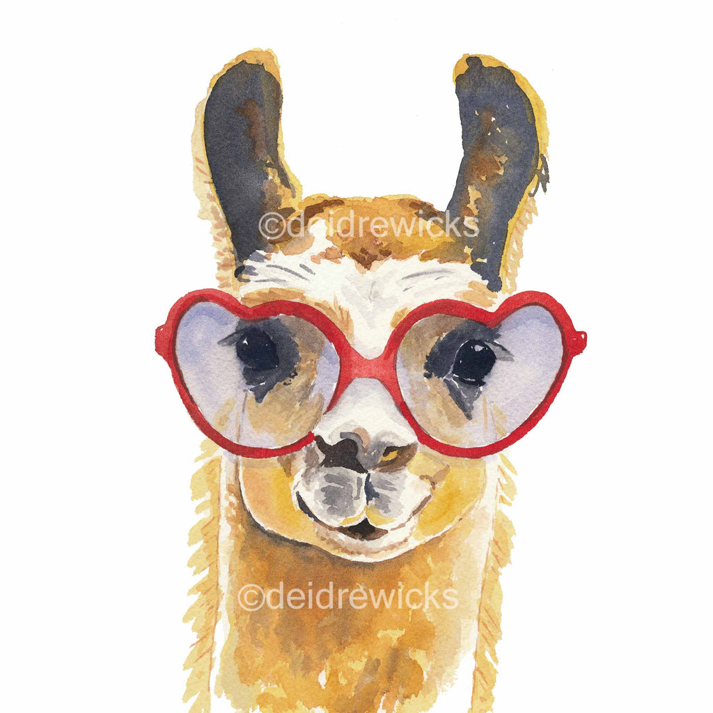 Watercolour painting of a llama wearing heart shaped glasses
