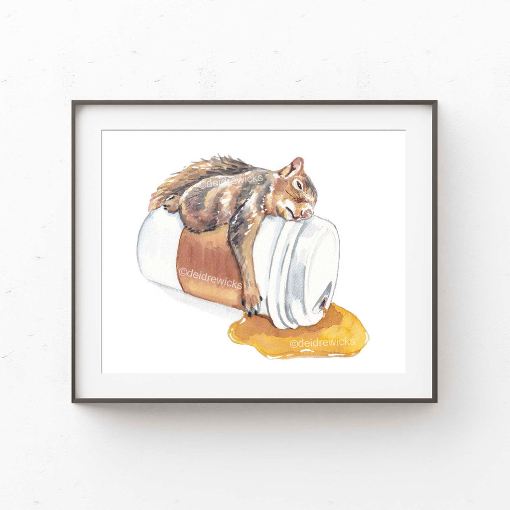 Framing suggestion for a watercolour print of a squirrel sleeping on a cup of coffee