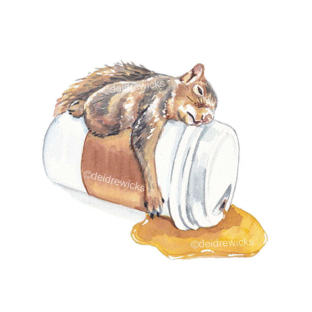 Sleepy Squirrel on a cup of coffee fine art watercolour print