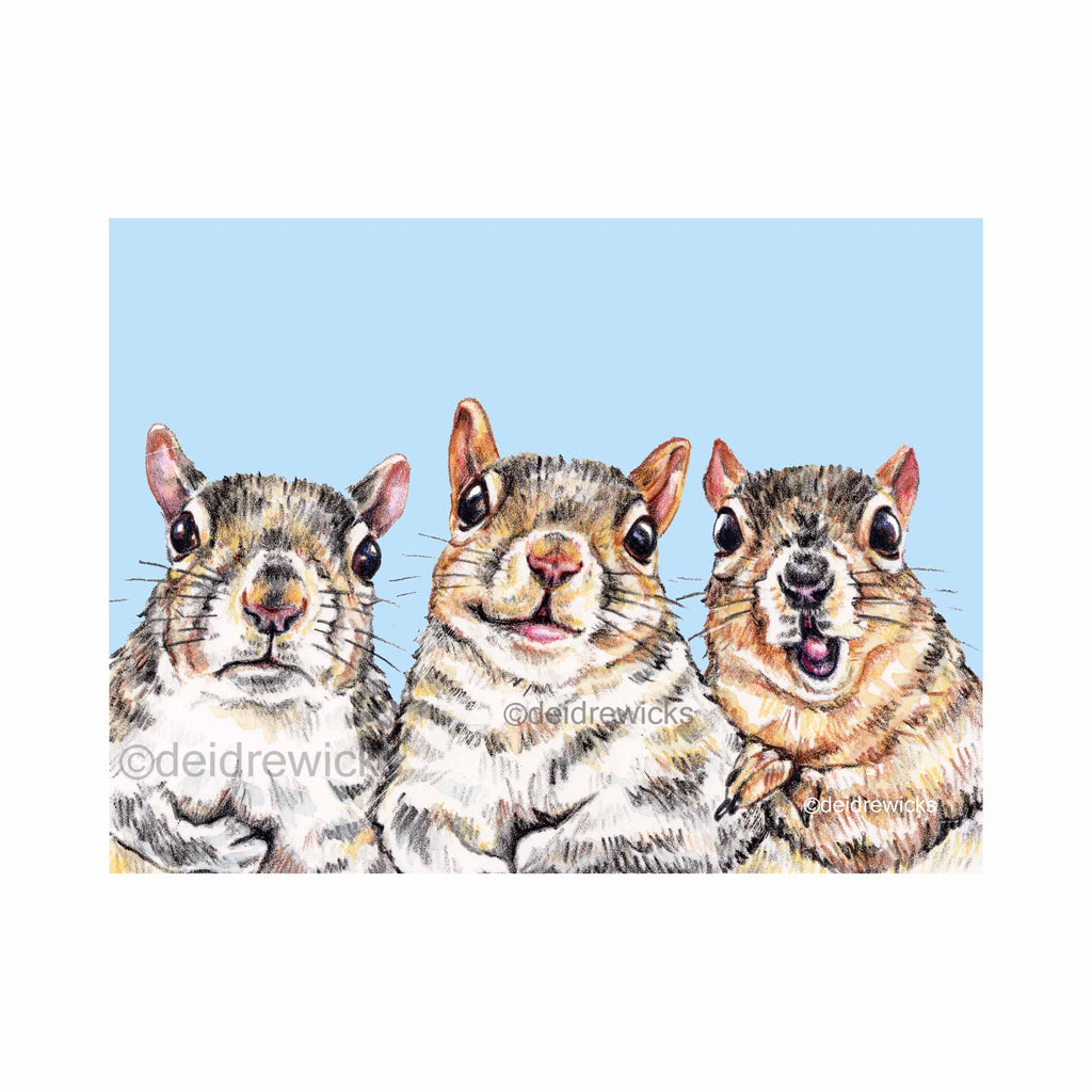 Crayon drawing of 3 squirrels with varying facial expressions: happy, excited and grumpy