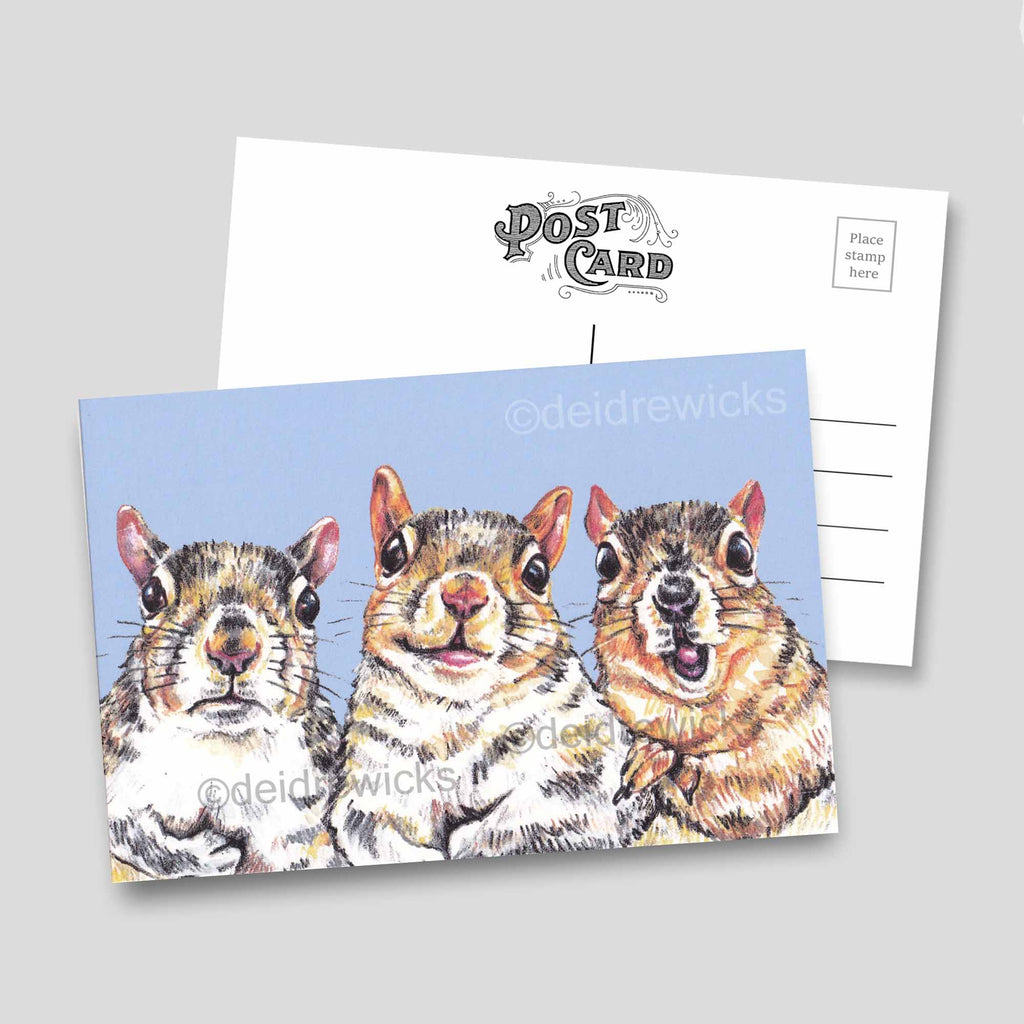 4x6 postcards featuring a crayon drawing of 3 moody squirrels against a purple background