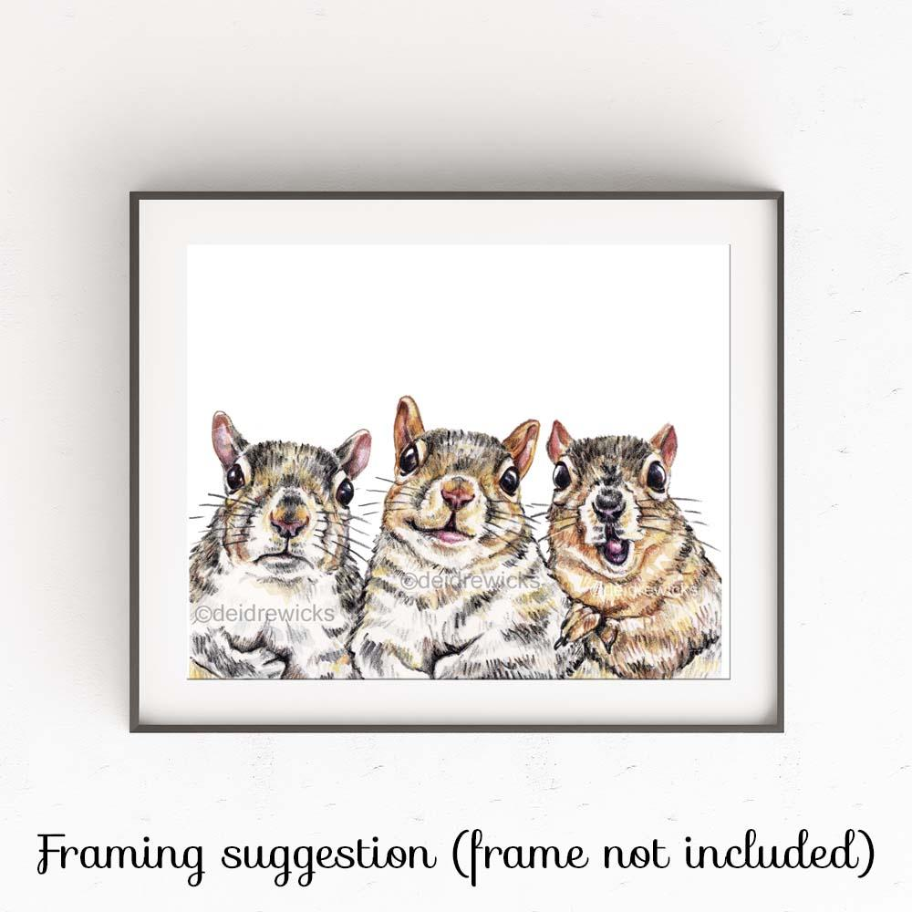 Example of how to frame a squirrel crayon fine art print by Deidre Wicks