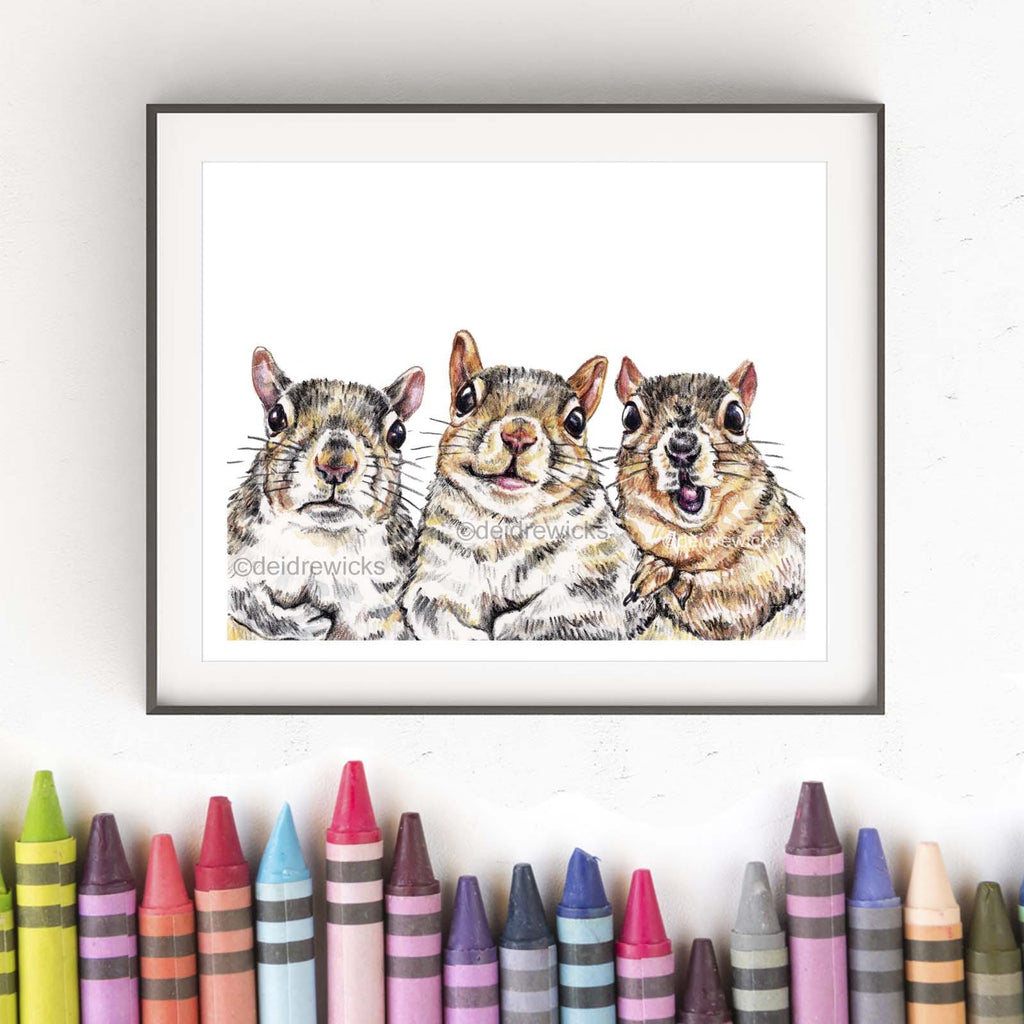 Crayon fine art print of 3 moody squirrels, yes crayon!