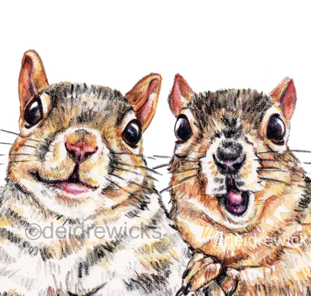 Close up of a squirrel crayon art print by Deidre Wicks