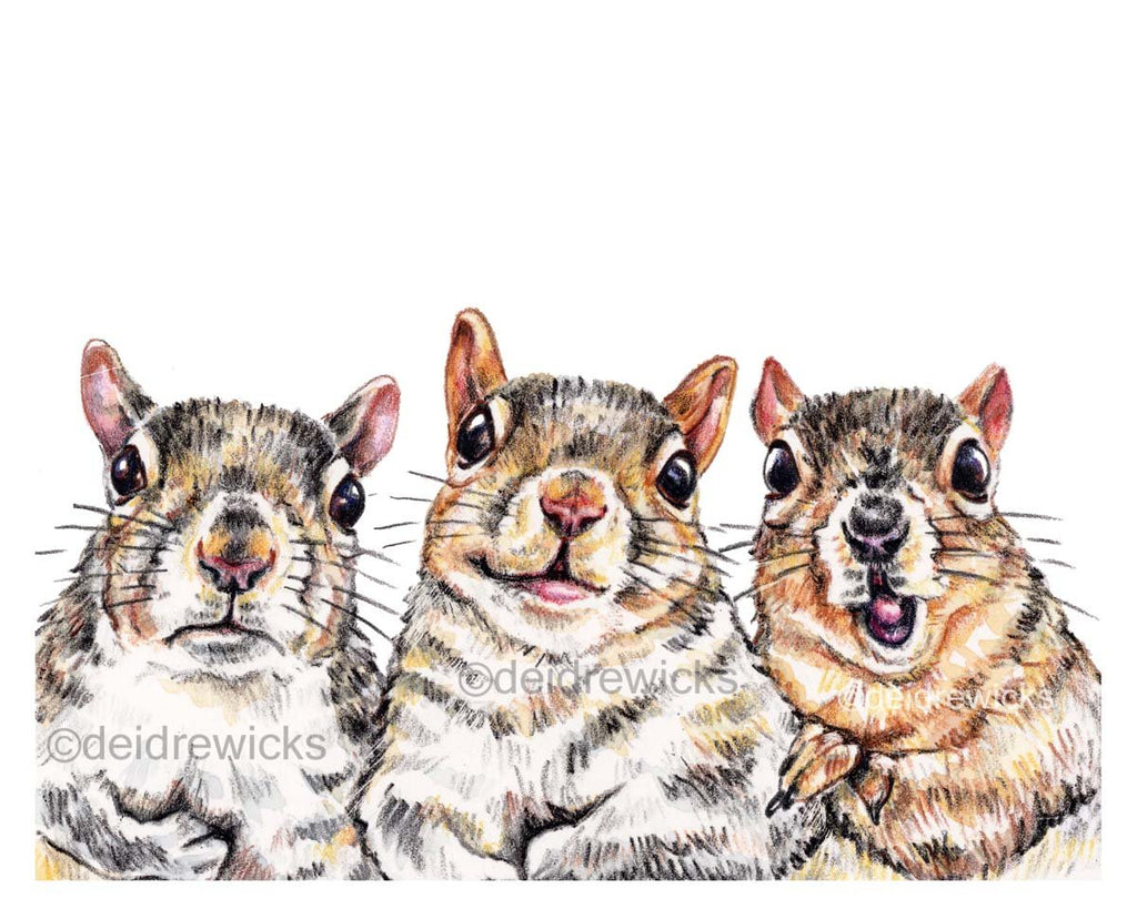 Crayon art print featuring three moody squirrels, happy grumpy and excited