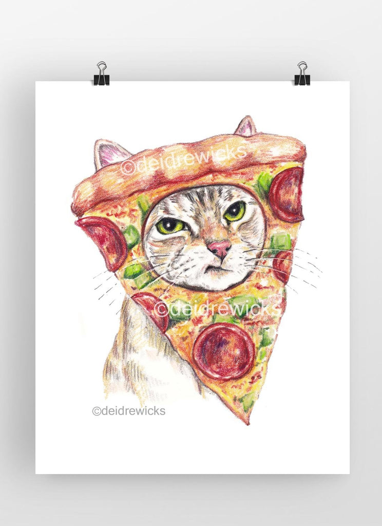 Drawing of a cat with a pepperoni pizza on it's head