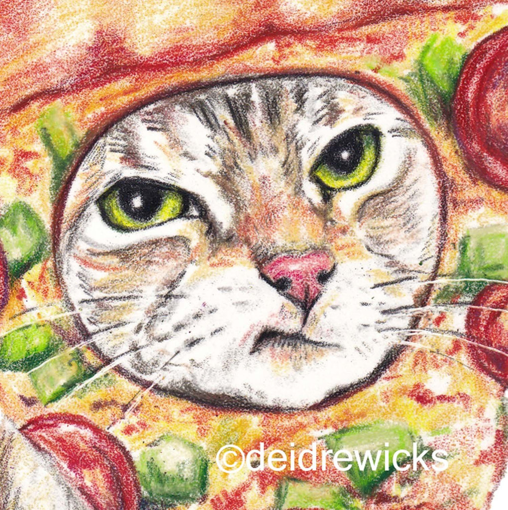 Close up of a tabby cat crayon drawing by Deidre Wicks