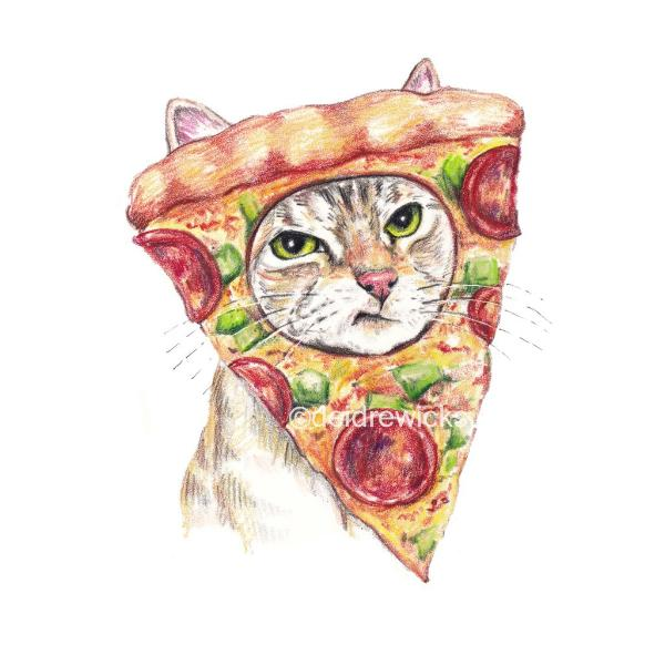 Crayon drawing of a cat wearing a slice of pizza on it's head. He looks pretty grumpy
