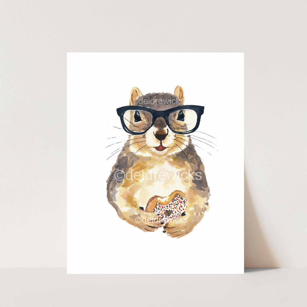 Watercolour painting of a squirrel wearing hipster glasses and eating a donut