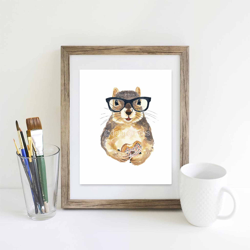 Suggested framing of your squirrel watercolor print by Deidre Wicks