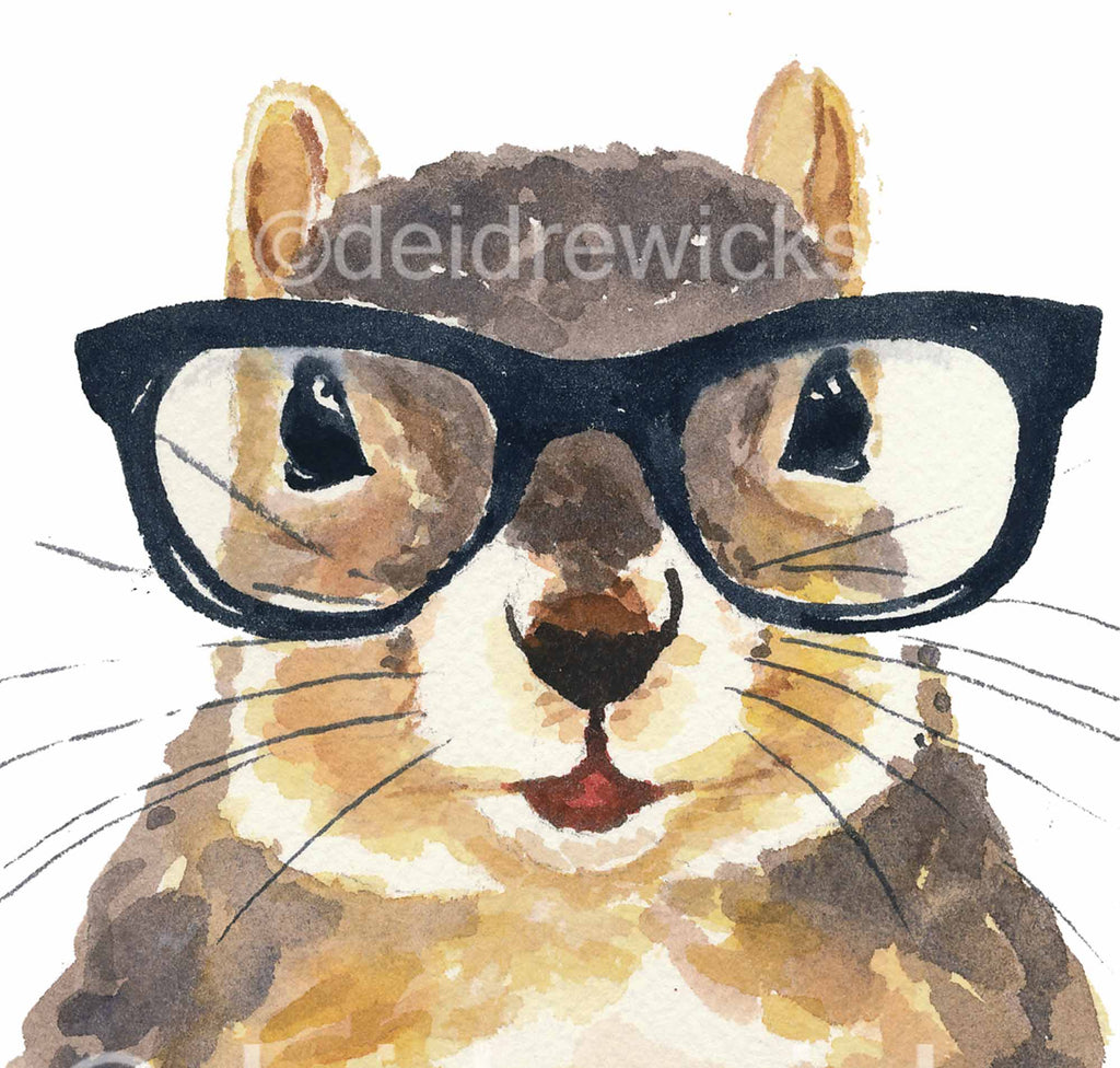 Close up of a squirrel wearing nerdy glasses by Water In My Paint