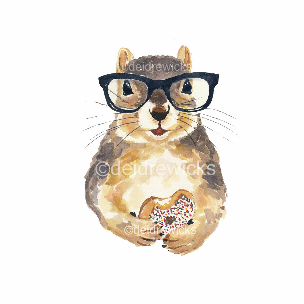 Watercolour painting of a hipster squirrel holding a donut