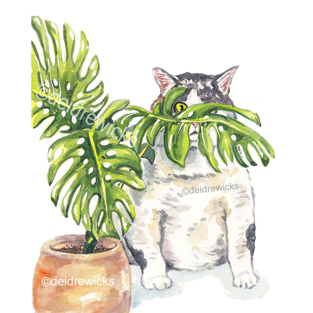 Cat watercolour print of large grey tabby cat trying to hide behind a plant by artist Deidre Wicks