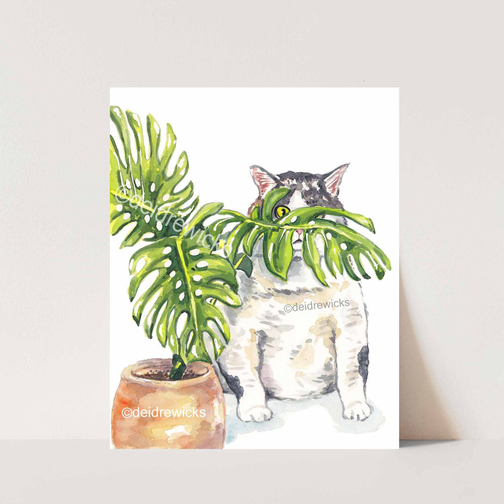 Watercolour painting of a fat tabby cat hiding behind a plant by artist Deidre Wicks