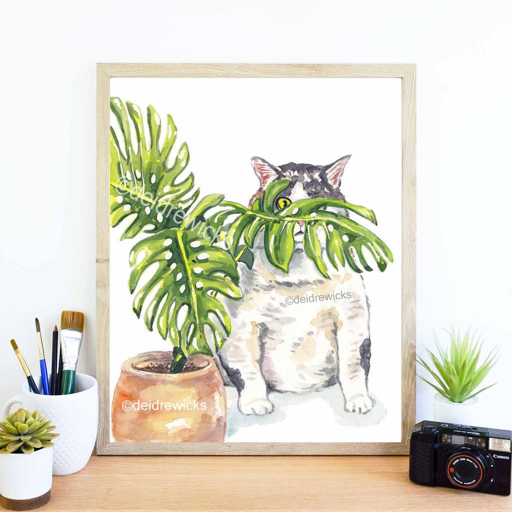 Example of a framed tabby cat watercolor painting by Water In My Paint