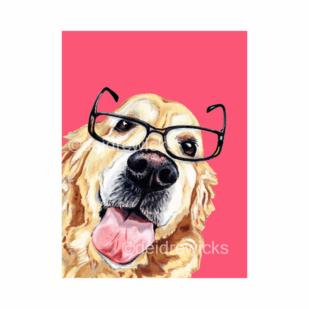 Professional crayon drawing of a golden retriever dog wearing slightly crooked reading glasses