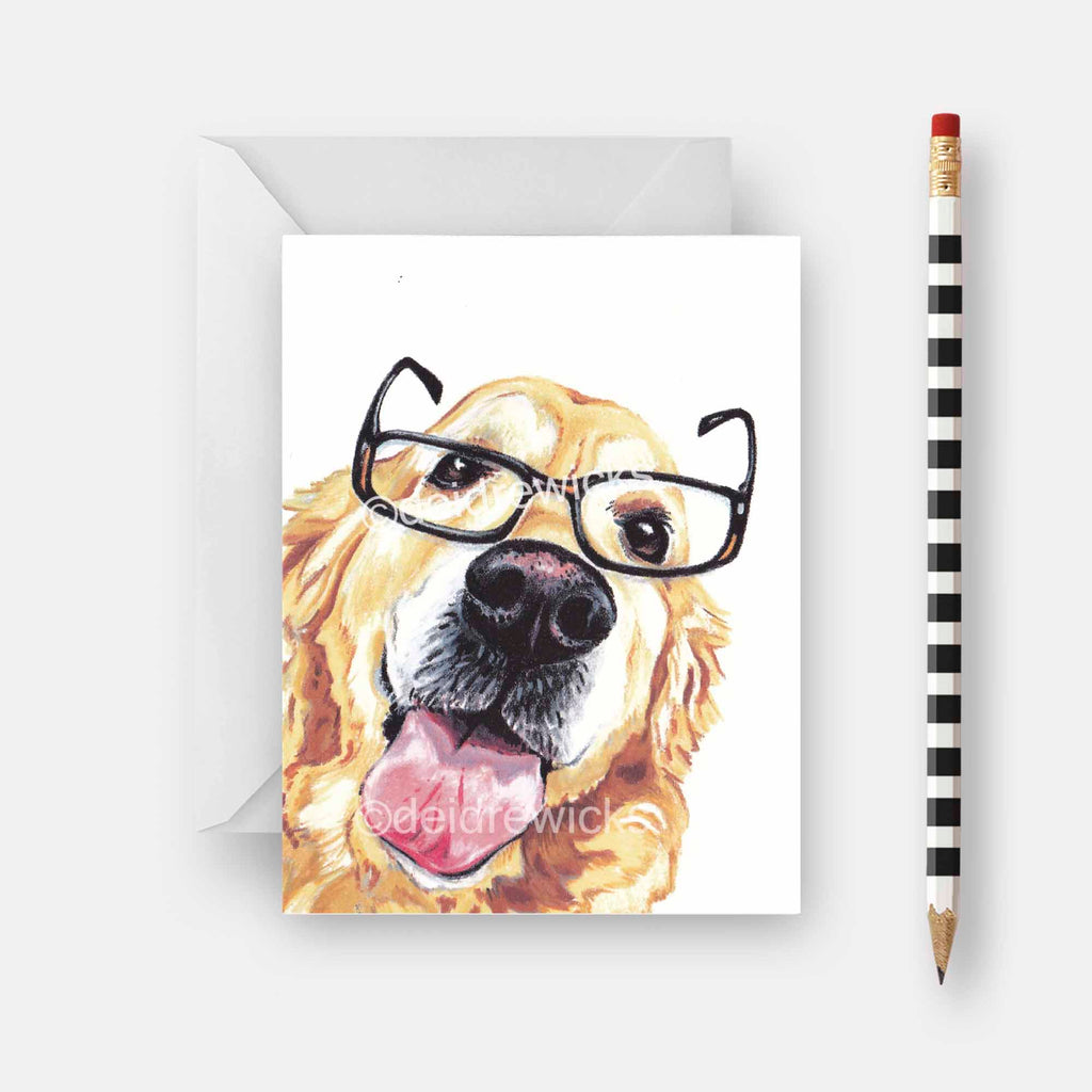 Blank dog note card featuring an illustration of a golden retriever dog wearing reading glasses