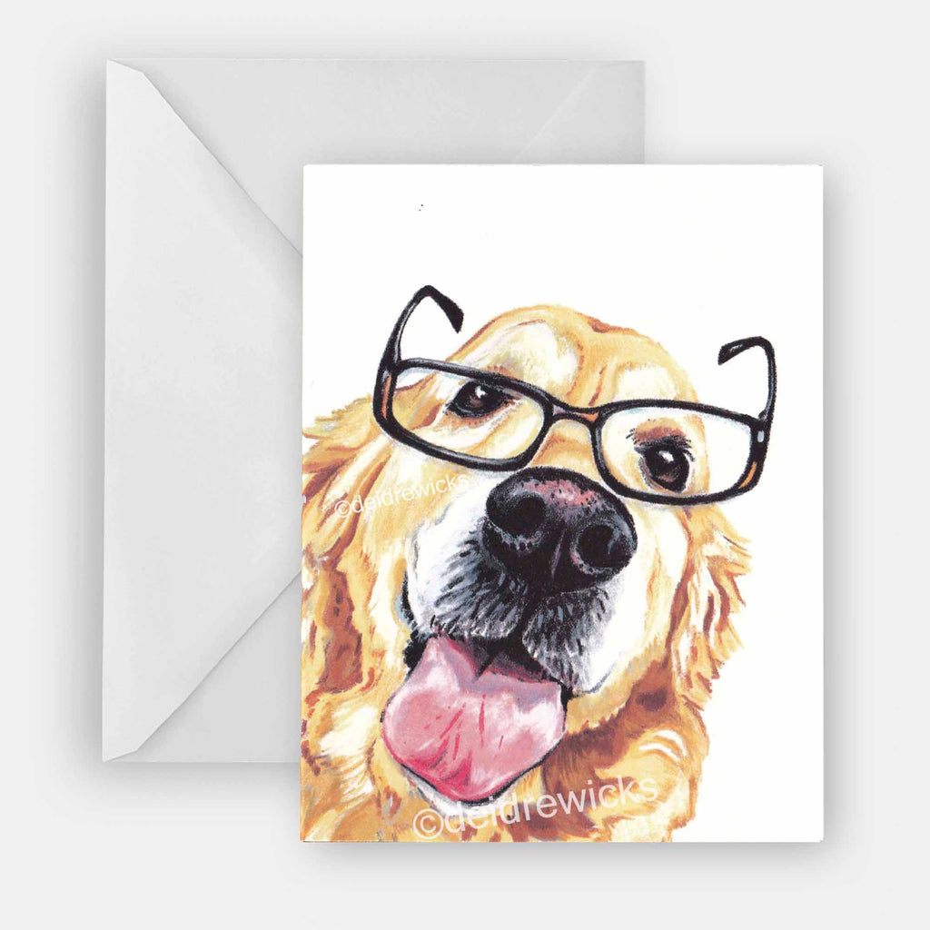 Golden retriever blank greeting card featuring a drawing of a golden dog wearing reading glasses