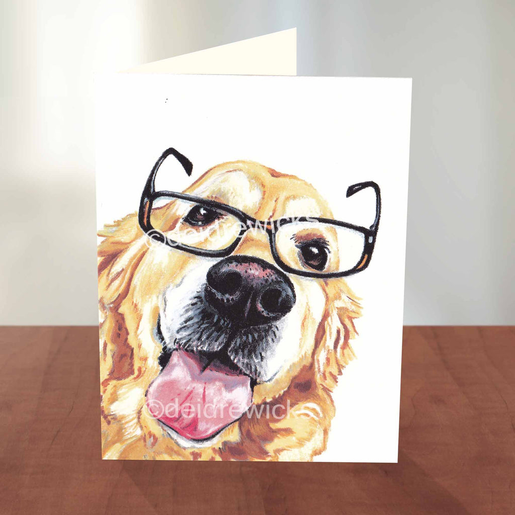 Dog greeting card featuring a golden retriever, eco-friendly blank notecard by Crayon Crumbs