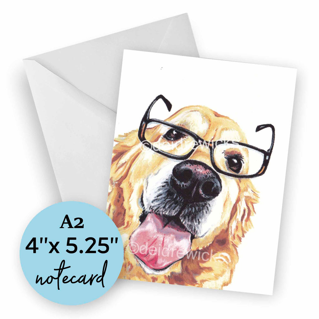 A2 blank dog notecard featuring crayon golden retriever art by Deidre Wicks