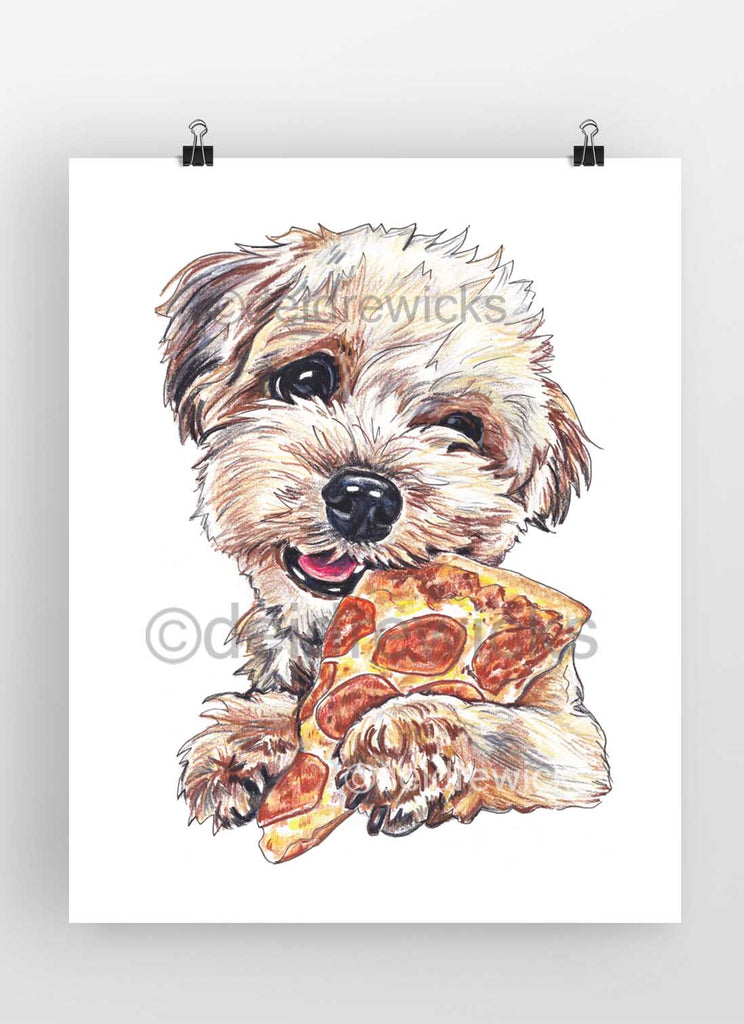 Drawing of a poodle mix dog eating a slice of pepperoni pizza