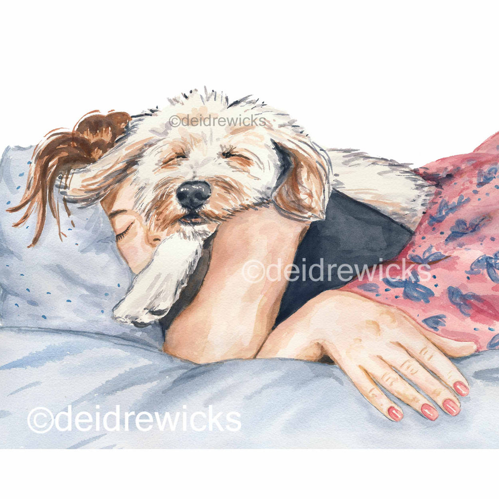 Watercolour portrait painting of a girl napping with her poodle mix dog