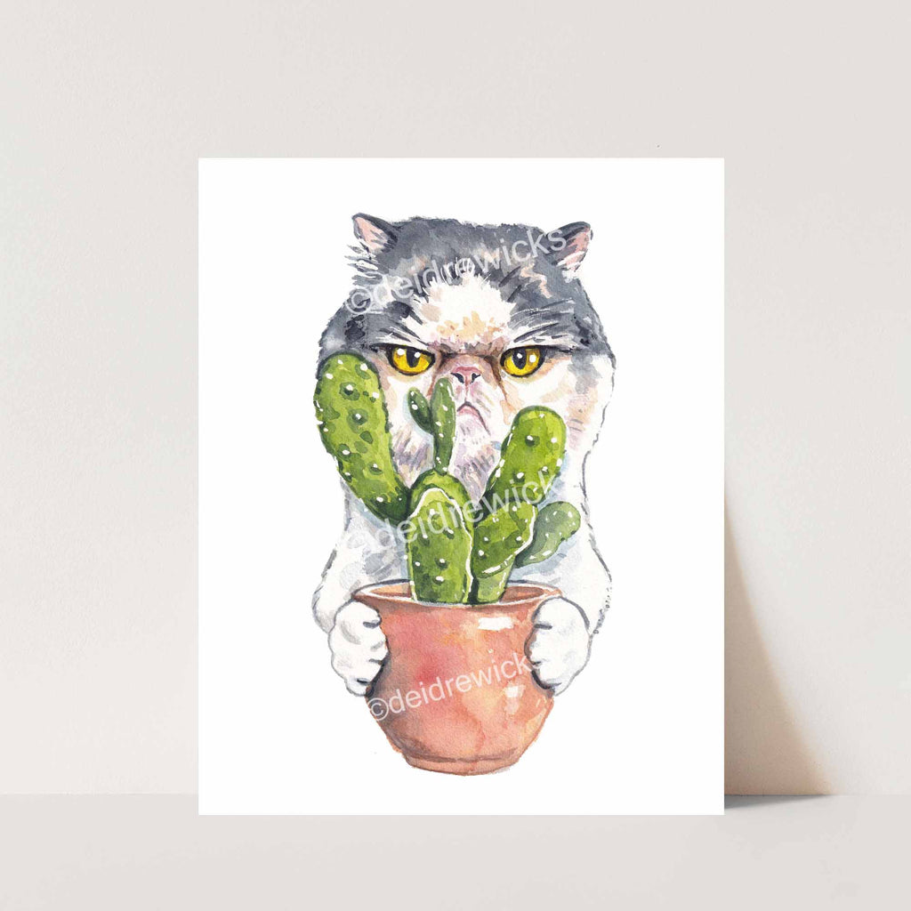 Cat Watercolor painting of a grumpy Tabby Persian holding a cactus