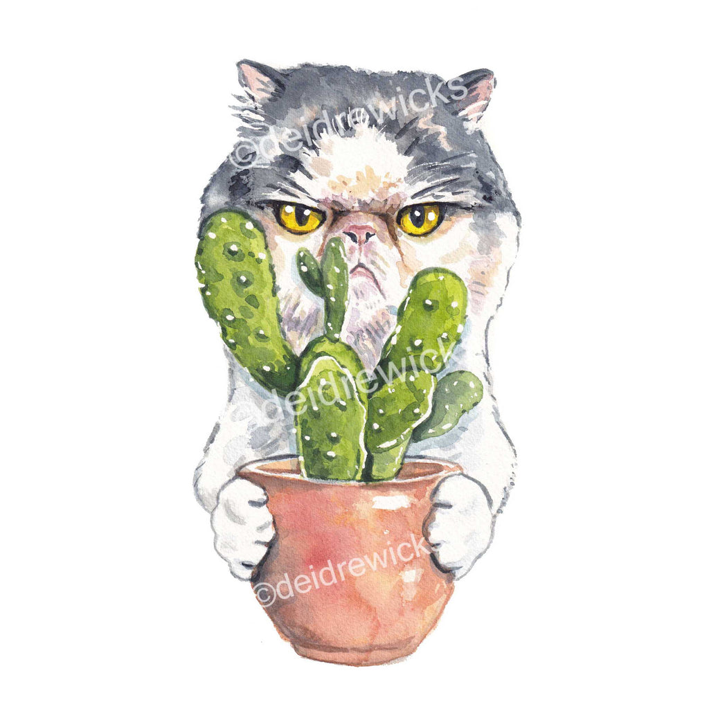 Watercolour Print of an angry Persian cat holding a potted cactus plant