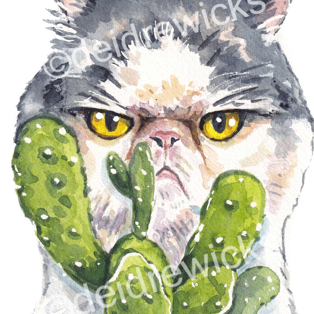 Close up of a watercolour painting of a grumpy grey and white Persian cat