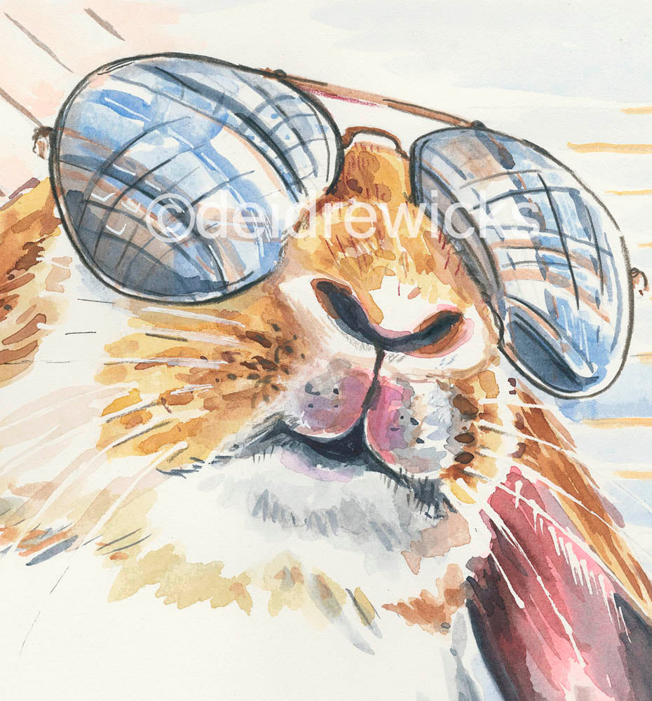 Close up of a print of a super cool lop eared rabbit wearing sunglasses