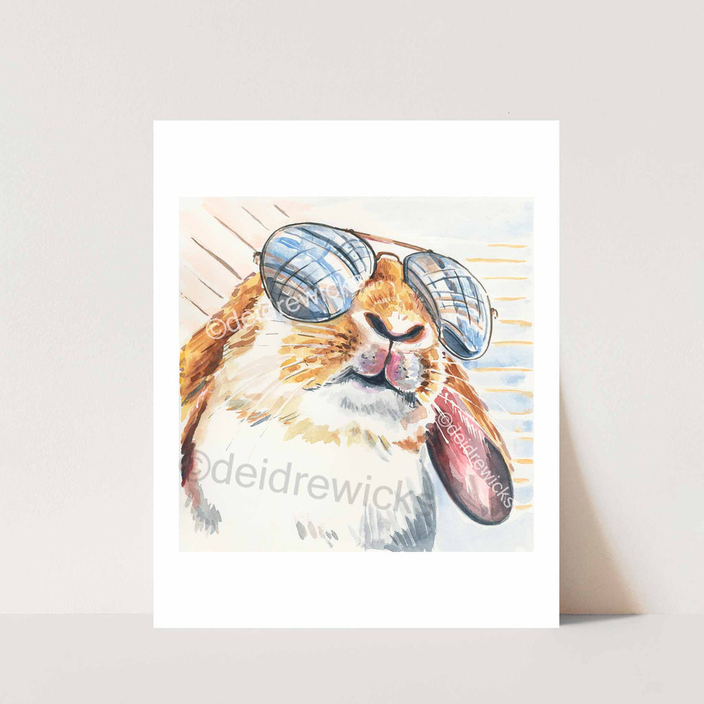 Watercolor print of a lop eared bunny rabbit wearing reflective aviator sunglasses